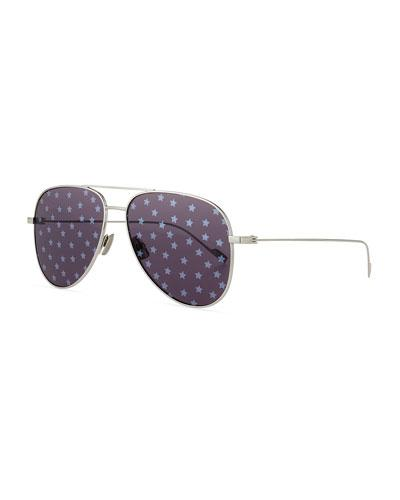 11f61d21c Saint Laurent 193T Aviator Sunglasses W/ Star Lenses In Silver ...