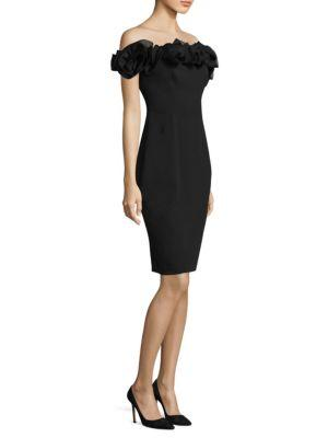 Aidan Mattox Off-the-shoulder Cocktail Dress In Black