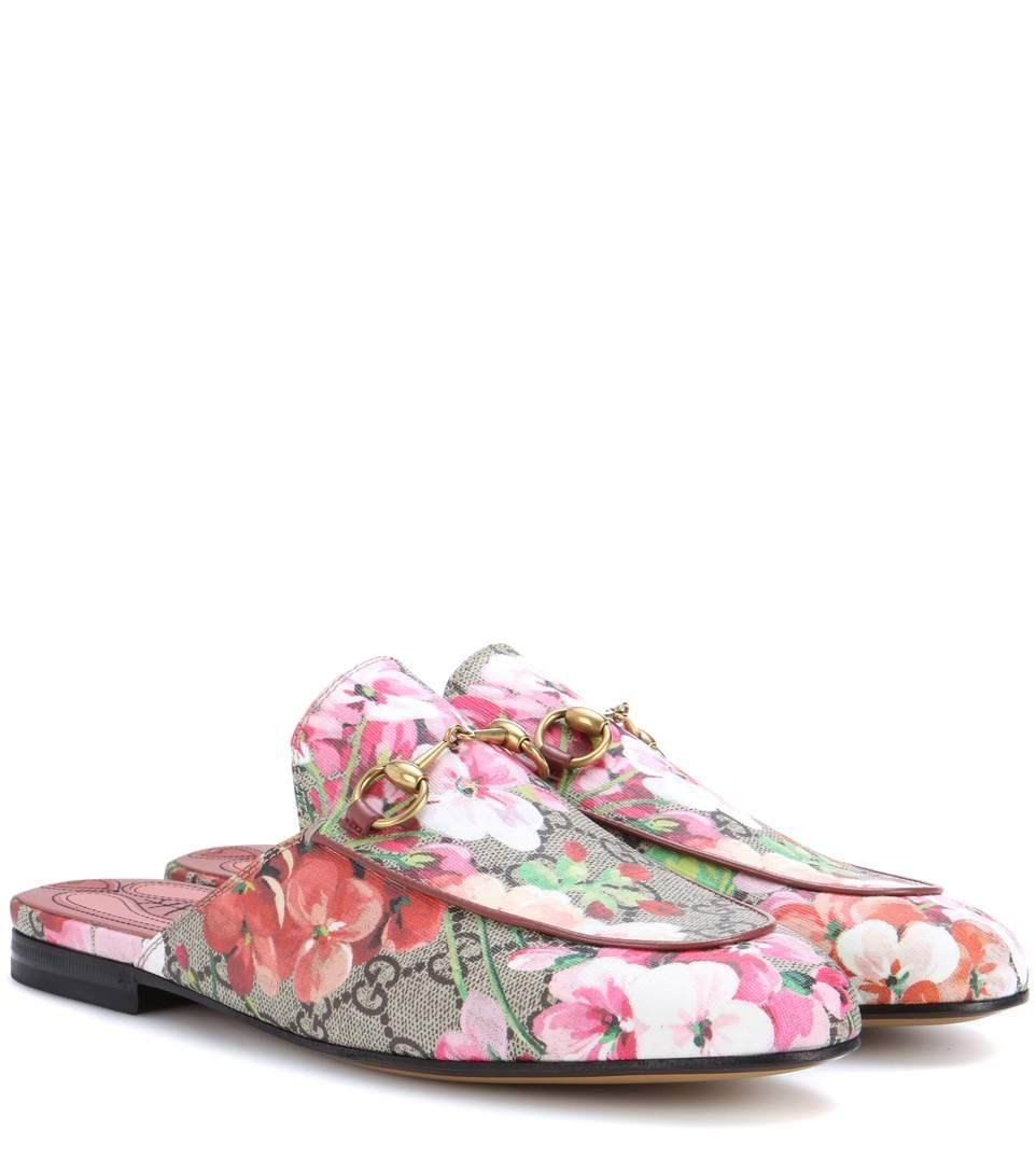 Gucci Leather Gg Princetown Slippers In Pink Comb