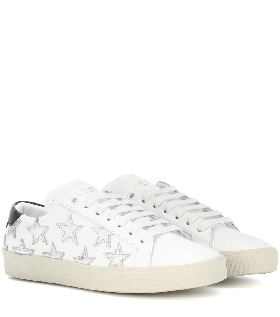 Saint Laurent White And Silver Court Classic Sl/06 Star AppliquÉ Sneakers