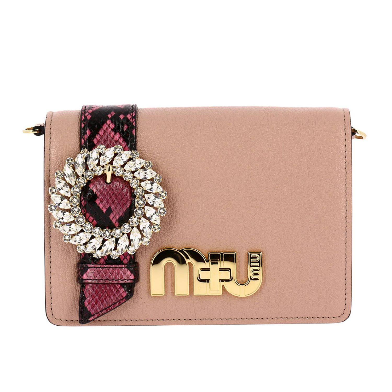6c4713803b47 Miu Miu My Miu Embellished Watersnake-Trimmed Textured-Leather Shoulder Bag  In Antique Rose
