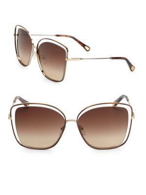 9f2e0fe36c0 ChloÉ Poppy Cat-Eye Acetate And Gold-Tone Sunglasses In Beige