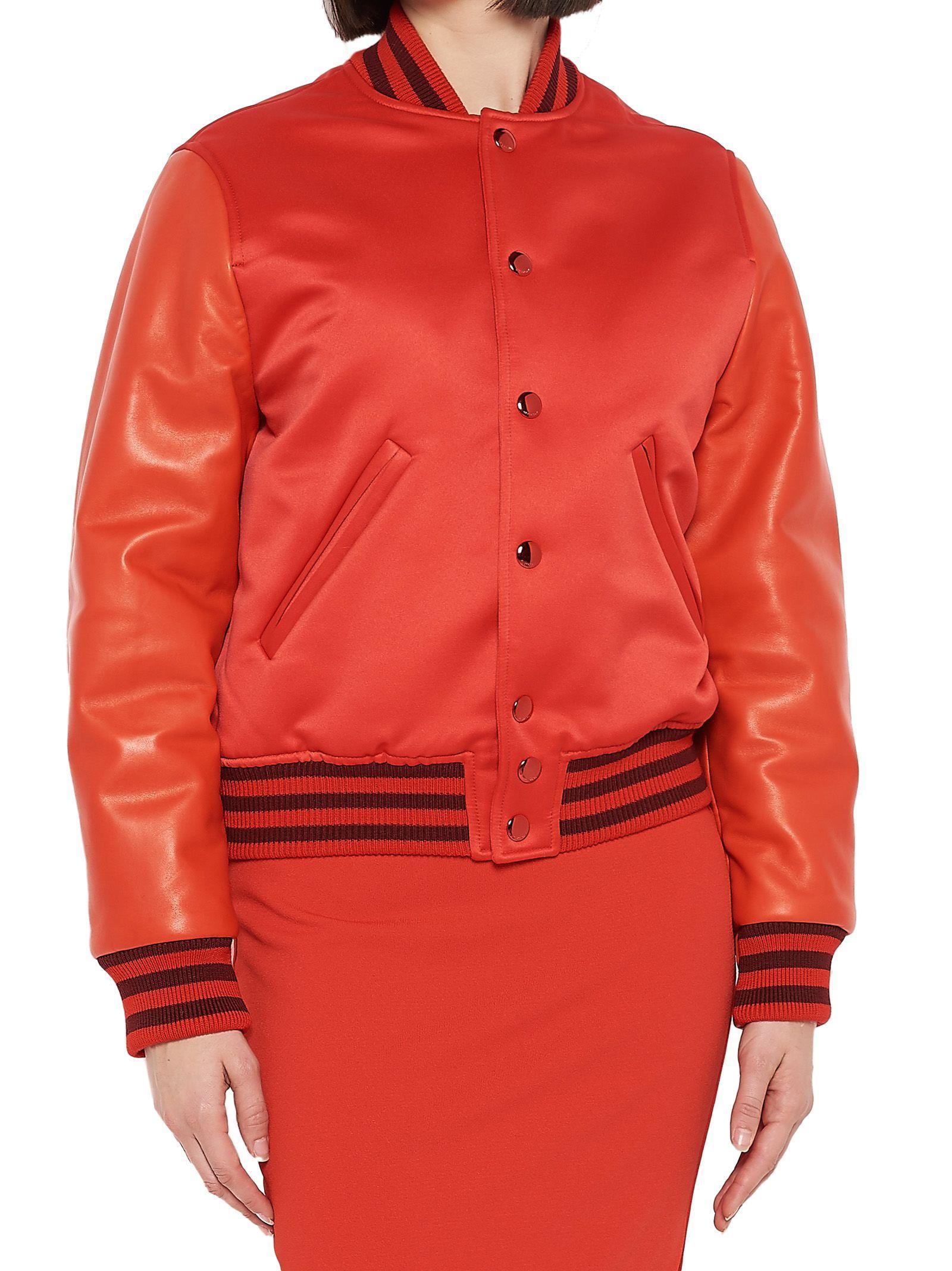 Wonderlijk Givenchy Duchesse Satin & Leather Bomber Jacket In Red | ModeSens HV-12