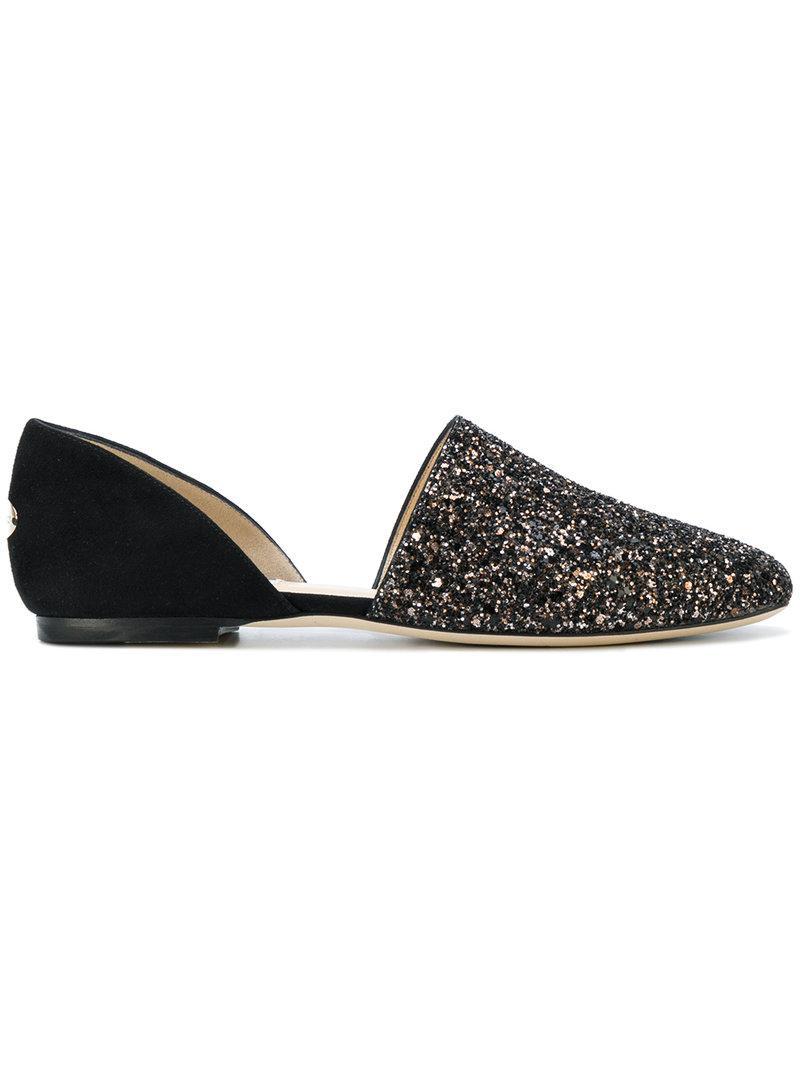 79b20d21d9e0 Jimmy Choo Globe Flat Black Suede Flats With Bronze Mix Midnight Coarse  Glitter Fabric