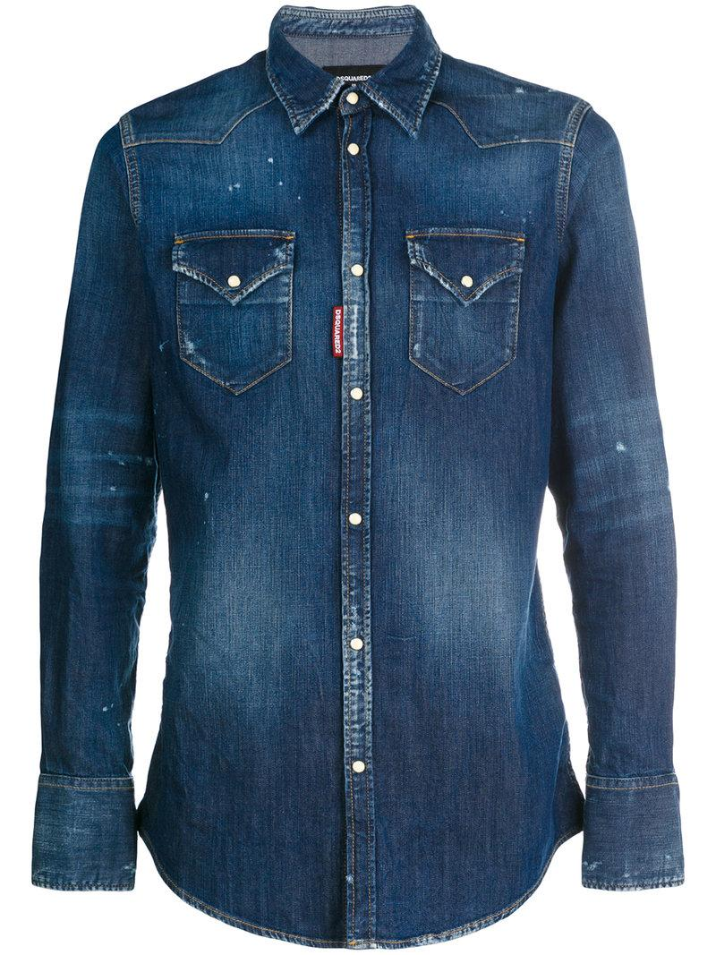 f1327c3448 Dsquared2 Distressed Washed Denim Western Shirt