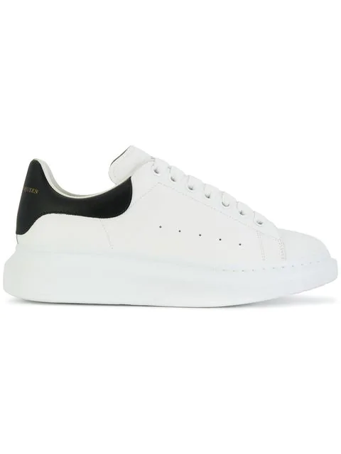 Alexander Mcqueen 'oversized Sneaker' In Leather With Glitter Collar In 9061 Blanc/noir
