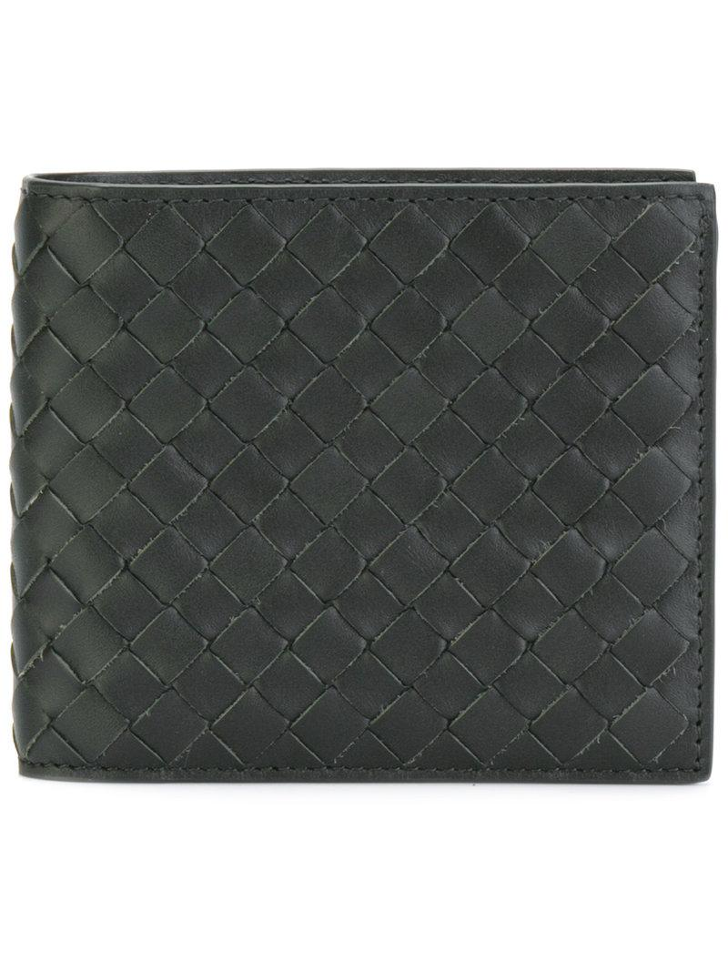 Bottega Veneta Nero Metal Brush Calf Bi-fold Wallet In Tourmaline