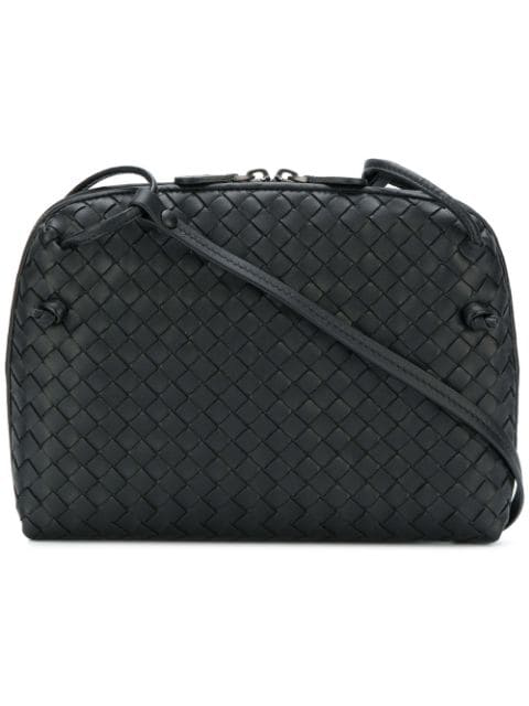 Bottega Veneta Nodini Small Intrecciato Leather Cross-body Bag In Black