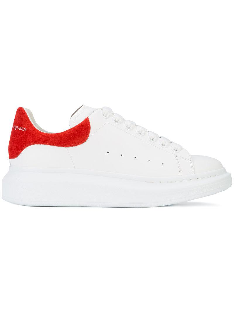 Alexander Mcqueen 'Oversized Sneaker' In Leather With Suede Collar In 9043 White/Red