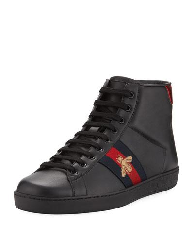 3c03880cfb1 Gucci New Ace Bee Embroidered High Top Sneakers In Black. MEMBER ONLY. 730Login  to see price