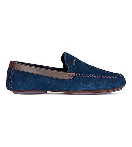6b31829cc13b53 Ted Baker Maddox Faux Fur-Lined Suede Moccasin Slippers In Navy ...