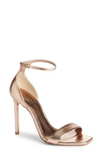 386068db098b Saint Laurent Amber Metallic Leather Sandals - Rose In Pink