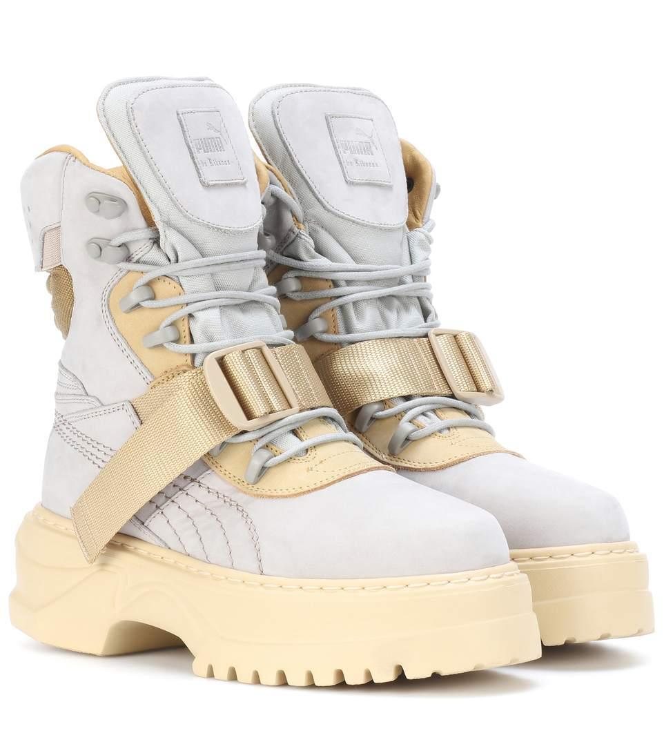 c60de3ffb1b Fenty X Puma Winter Nubuck Leather Boots In Dove