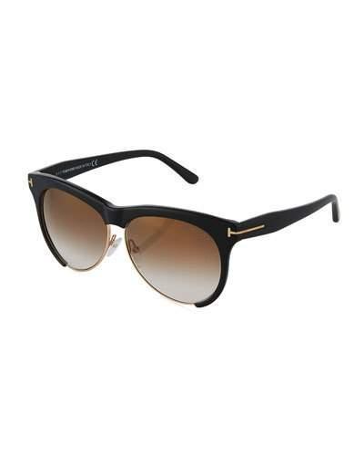Tom Ford Leona Dual-rimmed Sunglasses In Black/gold