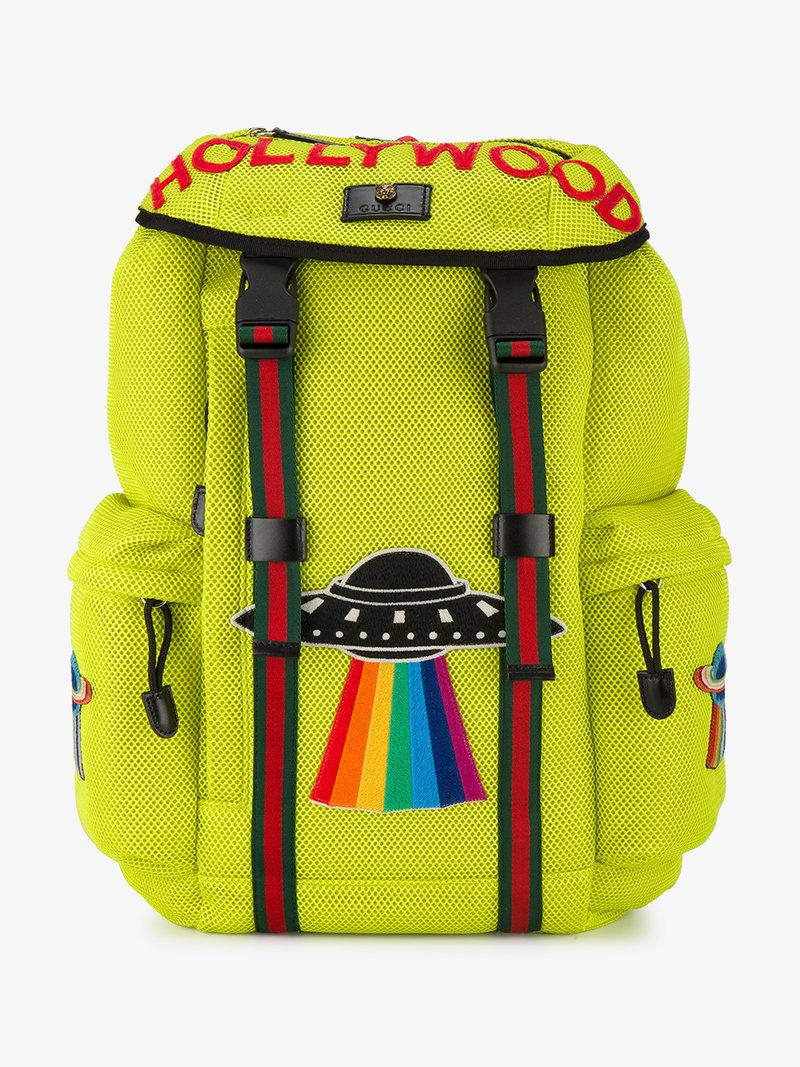 4aeb99a95c54 Gucci Mesh Tech Backpack With Embroidery, Yellow | ModeSens