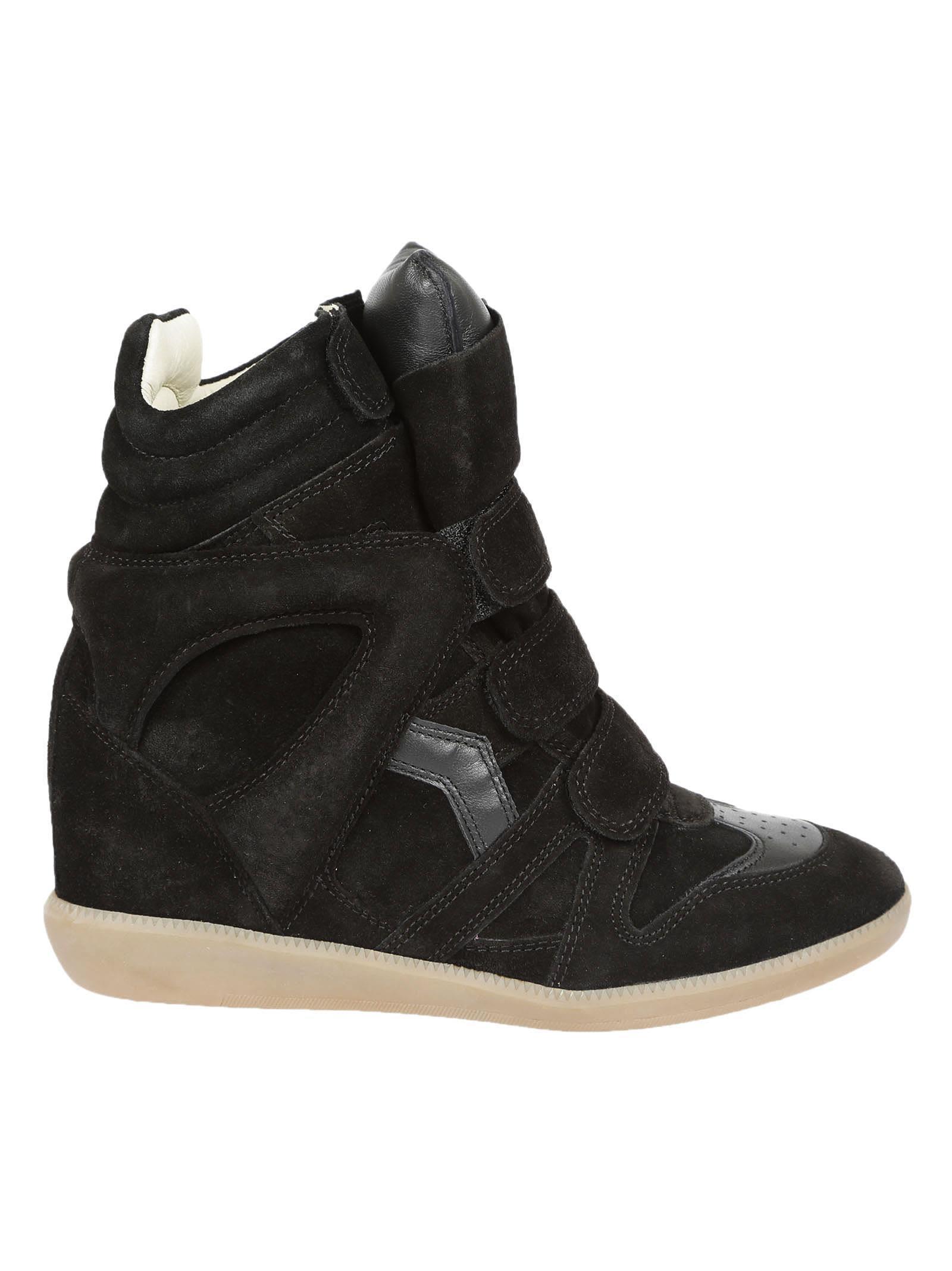 f006c3b8f8dd Isabel Marant Bekett Leather-Trimmed Suede Wedge Sneakers In Black ...