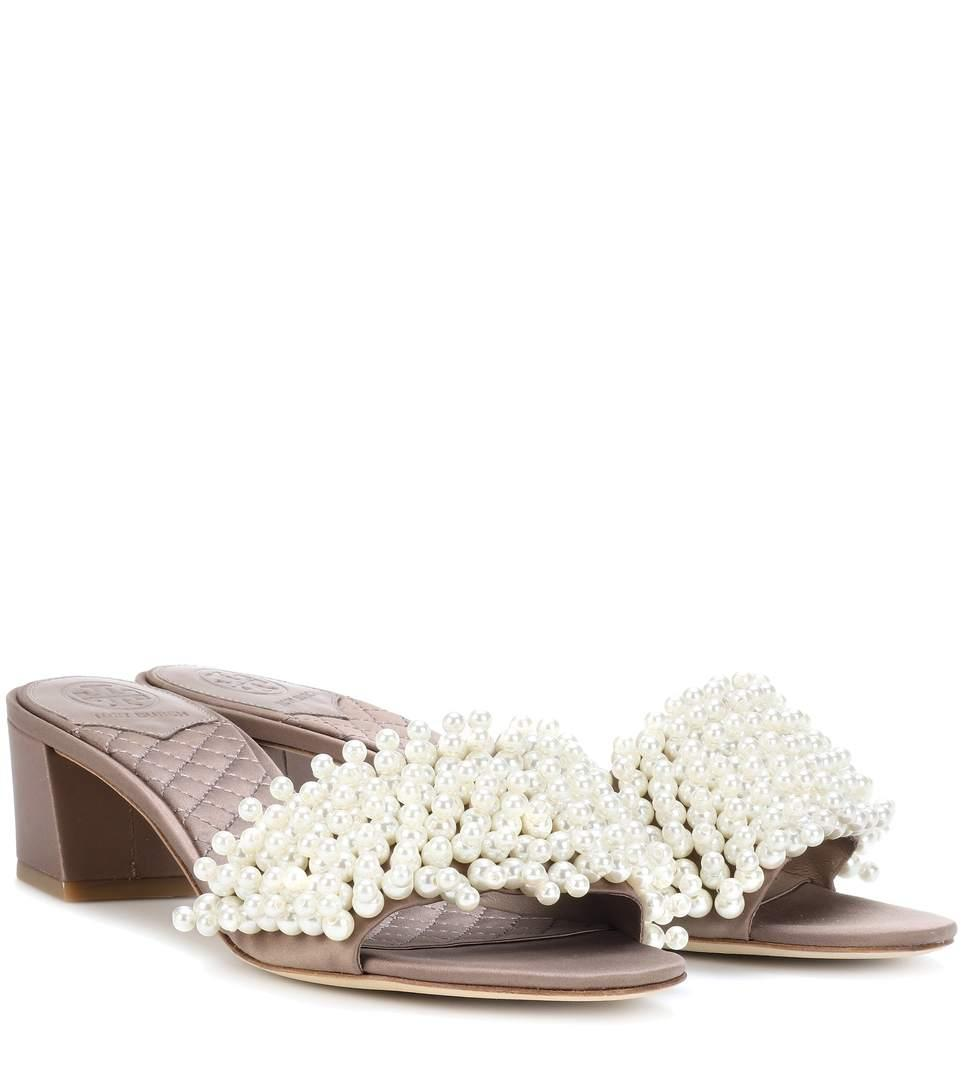 4d06629ad86 Tory Burch Tatiana Embellished Slip-On Sandals In New Dust Storm ...