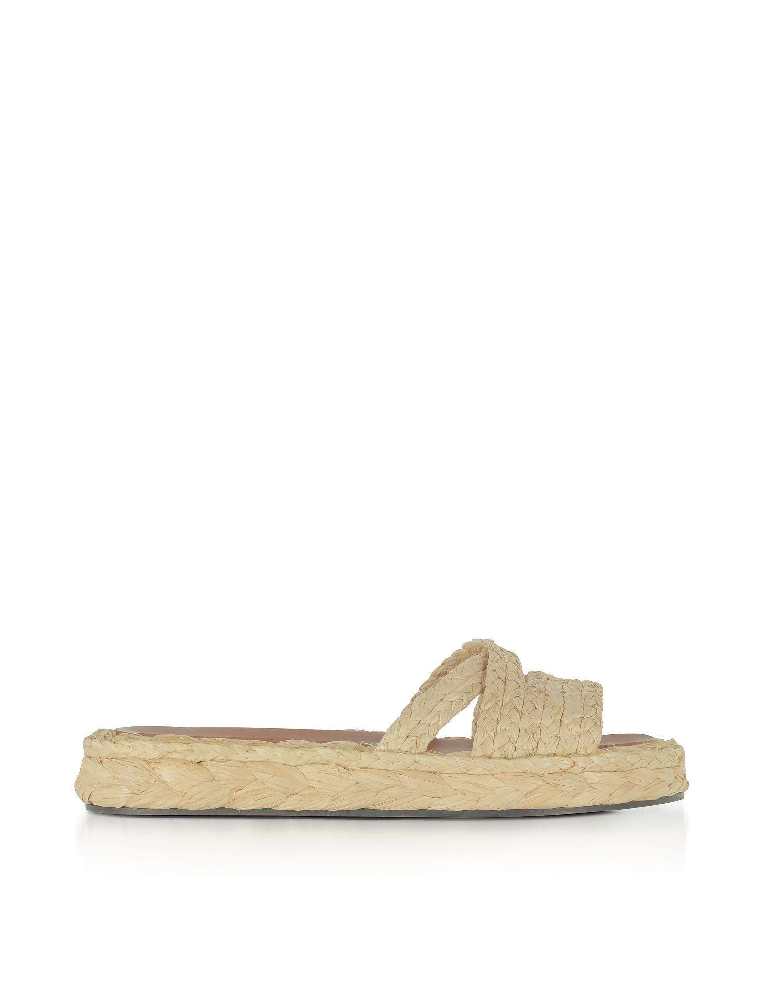 5bce765bb0b Robert Clergerie Idalie Natural Braided Raffia Flat Sandals In Beige ...