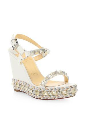 60caf7b28091 Christian Louboutin Pyraclou Leather Platform Sandals In Latte ...