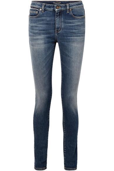 Saint Laurent Distressed Mid-rise Skinny Jeans In Mid Denim