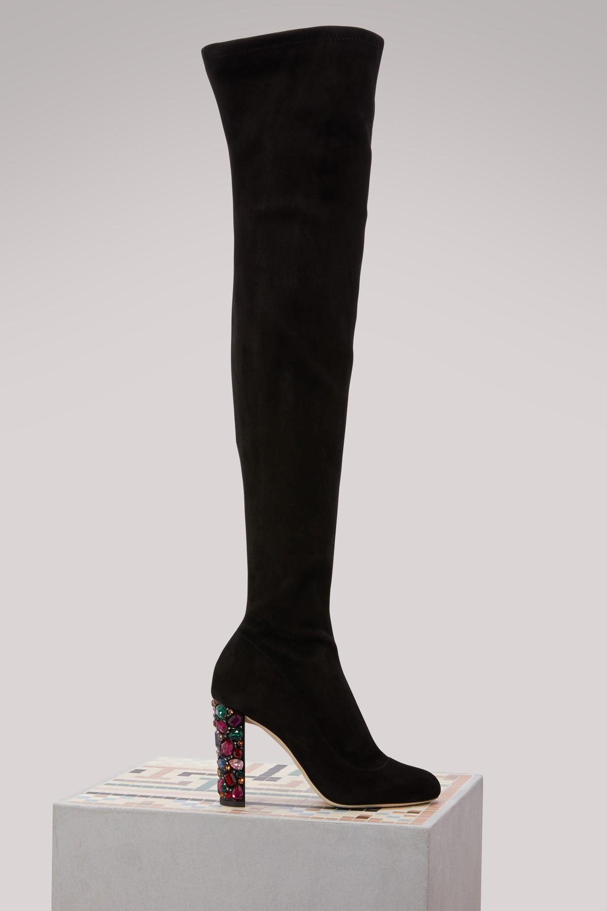 f13be2eb9e61 Jimmy Choo Mya 100 Black Stretch Suede Over The Knee Boots With Embellished  Heel