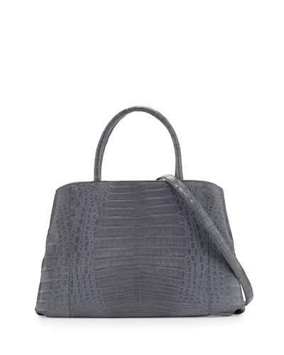 Nancy Gonzalez Crocodile Large Center-zip Tote Bag In Black Matte