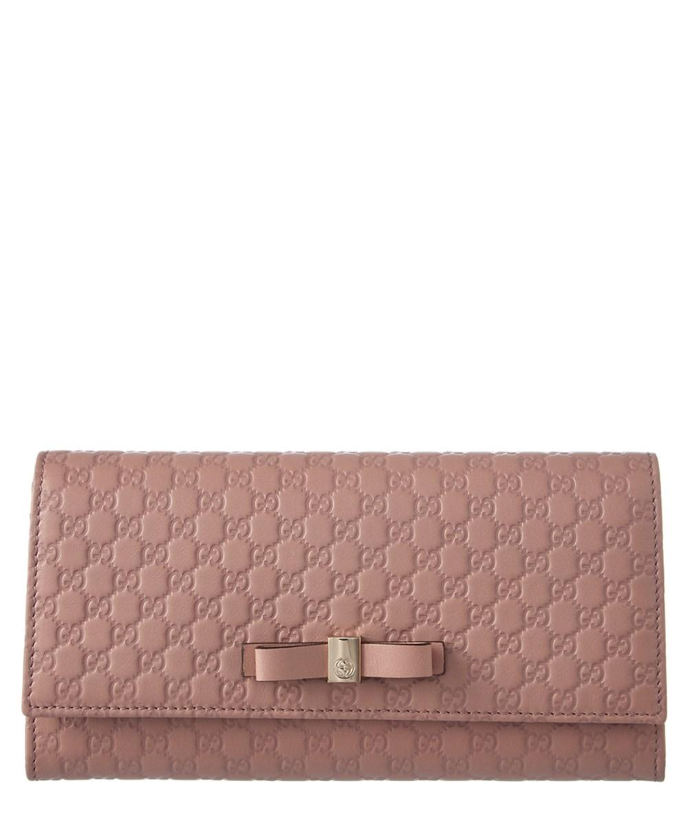 Gucci Bow Microsima Leather Continental Wallet In Punctuated