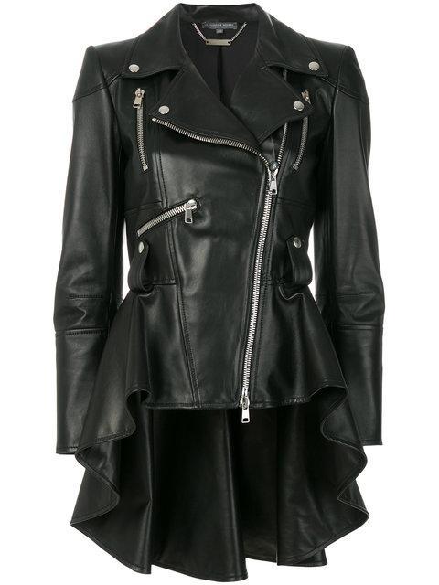 Alexander Mcqueen Lamb Leather Jacket W/peplum Tail In Black