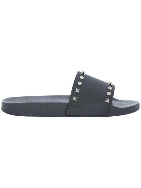 Valentino Garavani Rockstud-embellished Rubber Pool Slides In Black