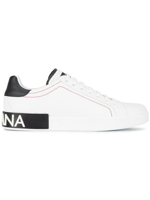 Dolce & Gabbana Dolce And Gabbana White And Black Portofino Sneakers In 8I671