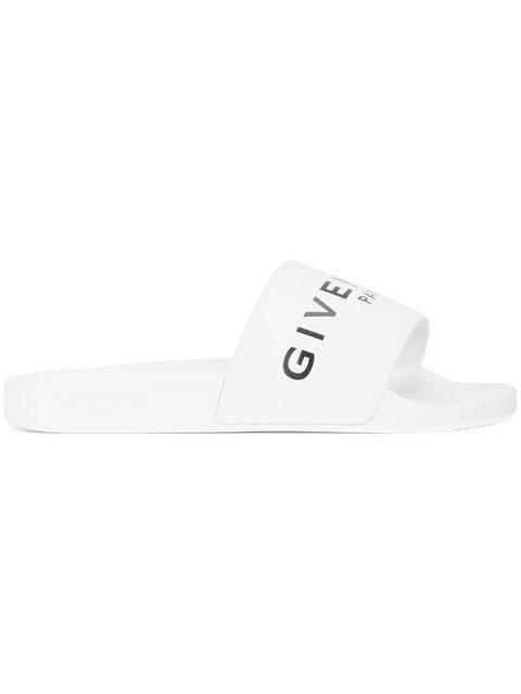 Givenchy Slide Logo Rubber Slide Sandals In 100 White