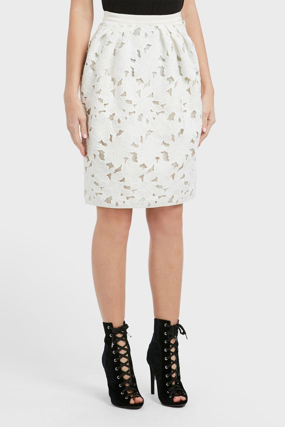 Giambattista Valli Floral MacramÉ-lace Pencil Skirt In White