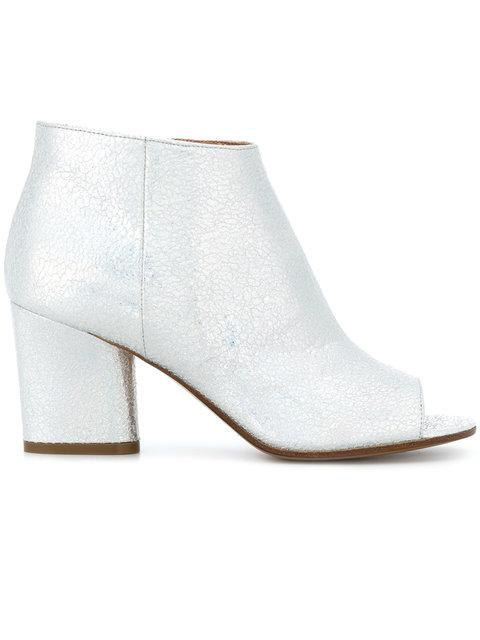 Maison Margiela Glossy White Leather Ankle Boots In Metallic