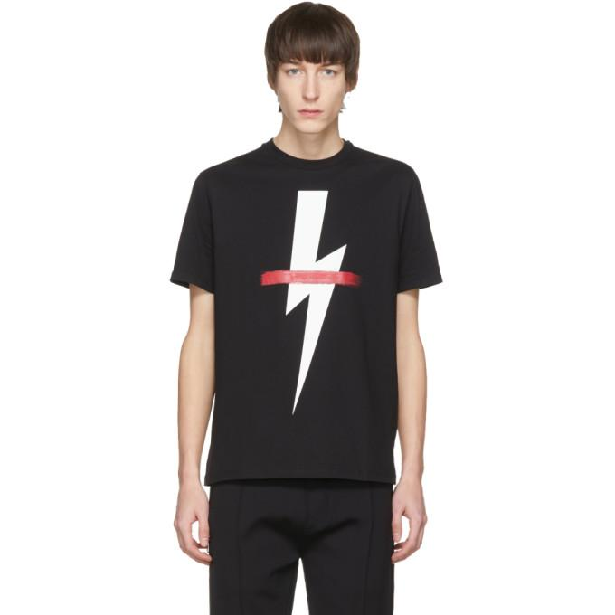 Neil Barrett Black-white-red Printed Cotton Jersey T-shirt In 1133