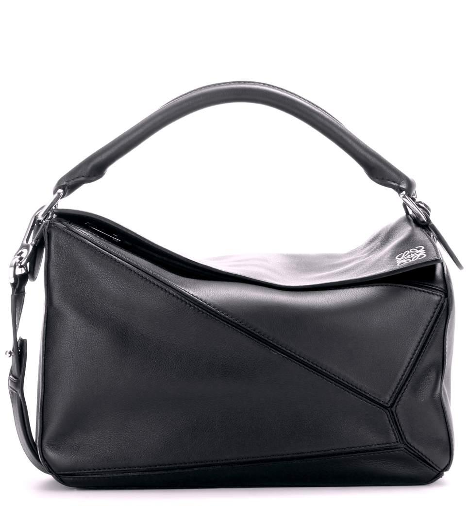 Loewe Puzzle Leather Shoulder Bag In Black