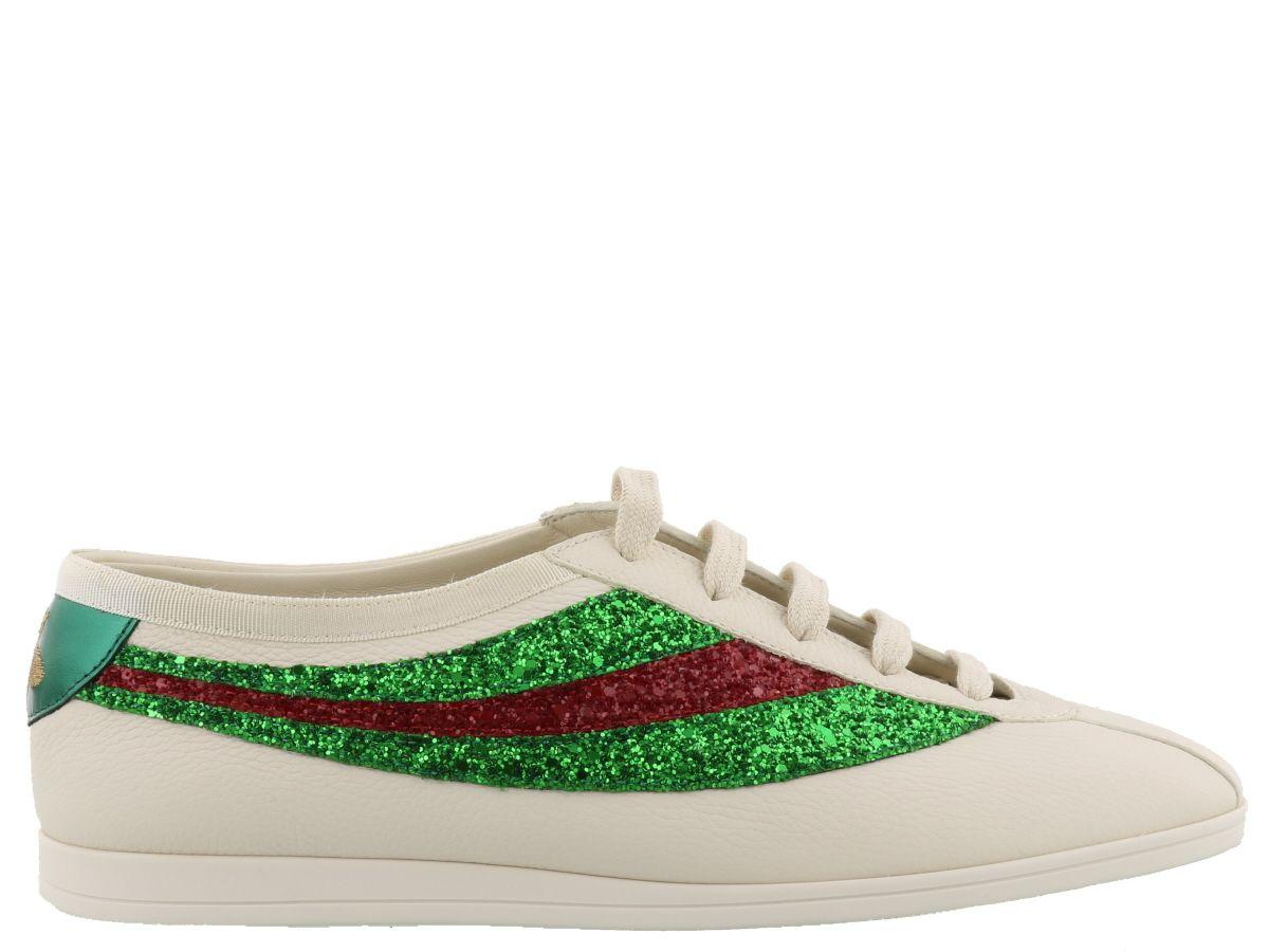30058cf666b Gucci Falacer Sneaker With Glitter Web In White