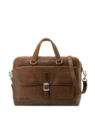 93bae6fd6 Frye Oliver Double-Handle Leather Briefcase In Dark Brown   ModeSens