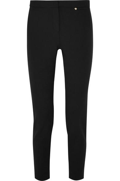Versace Slim-leg Stretch-cady Trousers In Black