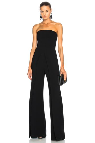 7f307c03d0b Alexis Carice Strapless Flared-Leg Crepe Jumpsuit In Black