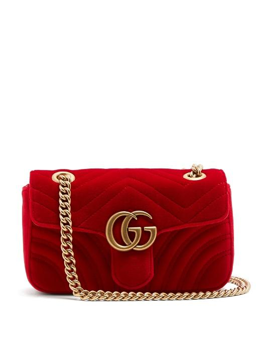 0c4d3667154b Gucci Gg Marmont Small Quilted-Velvet Cross-Body Bag In Red | ModeSens