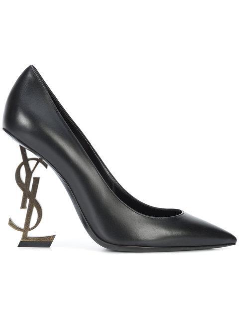 Saint Laurent Opyum Pumps In Crocodile Embossed Leather With Black Heel