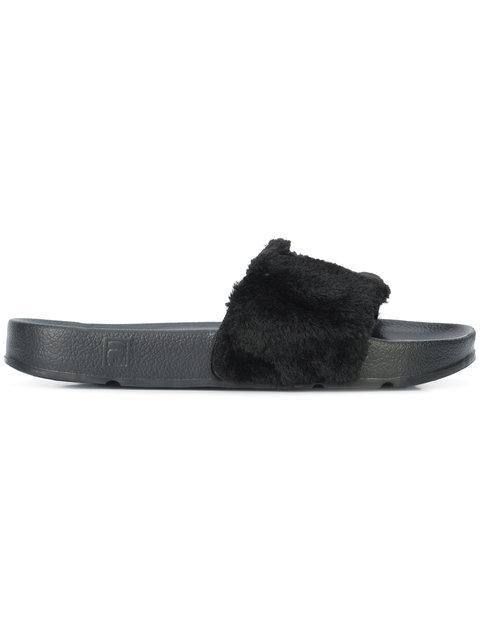 1c26ce073827 Baja East X Fila Women s Faux Fur Pool Slide Sandals In Black