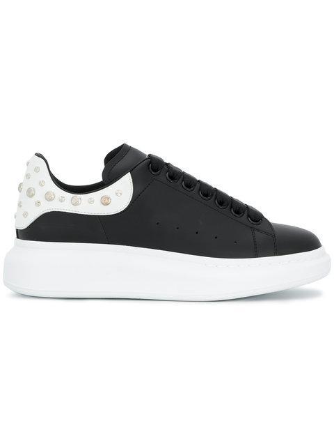 Alexander Mcqueen 'Oversized Sneaker' In Leather With Stud Collar In 1070Blkwht