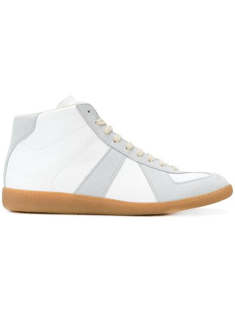 Maison Margiela Replica High-top Leather Lace-up Sneakers In White