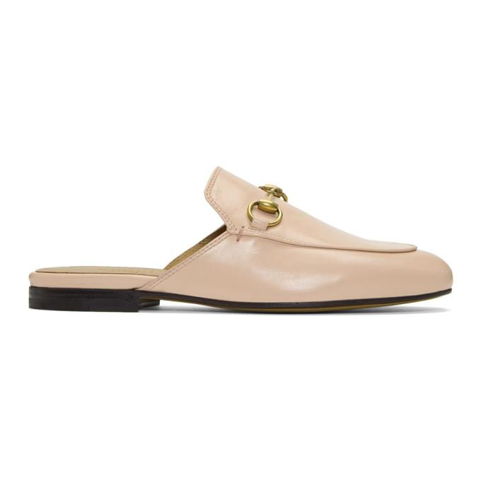 Gucci Princetown Leather Backless Loafers In 5909 Pink