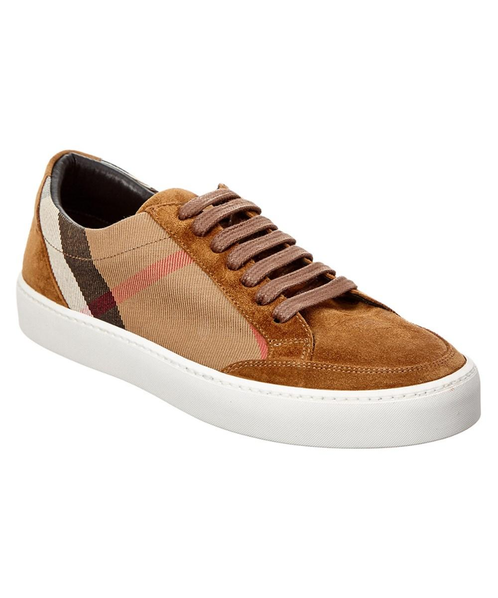 Burberry Salmond House Check & Suede Sneaker' In Cognac