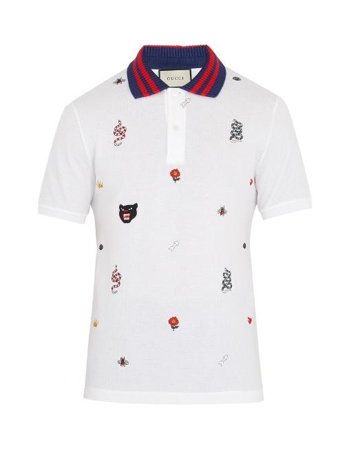 6d8bbe2a9 Gucci Embroidered Stretch-Cotton PiquÉ Polo Shirt In White | ModeSens