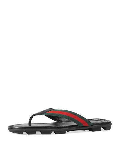 132de5e98016 Gucci Web   Leather Thong Sandals