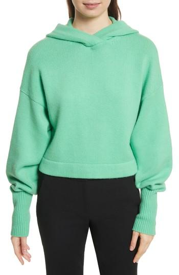 9bb557694c2 Tibi Pleated Sleeve Cropped Cashmere Pullover In Kelly Green | ModeSens