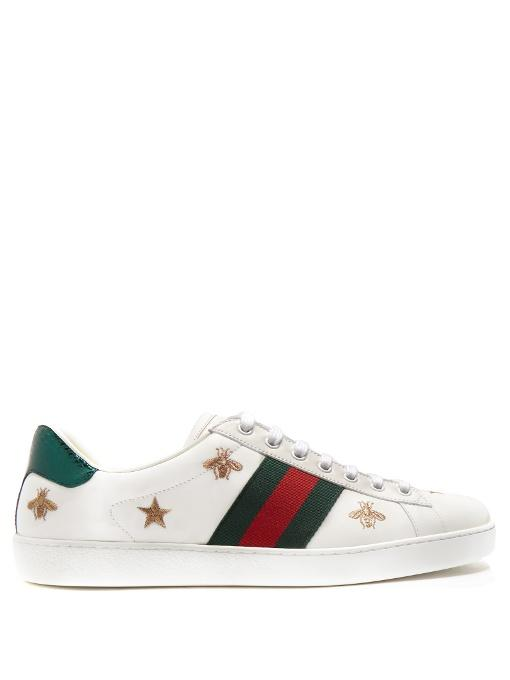 7170a80c6e6 Gucci Bee And Star-Embroidered Low-Top Leather Trainers In White ...